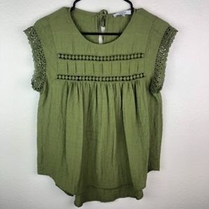 📦 Ro & De Army Green Embroidered BabyDoll Blouse
